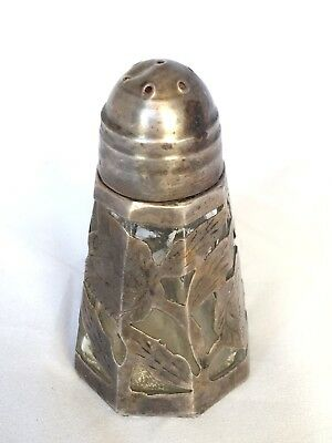 Sterling Silver .925 SALT / PEPPER SHAKER Silver Over Glass Floral Design TAXCO