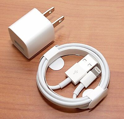Apple iPhone 8 PLUS X 10 7 6S 6+ 6 PLUS SE Wall Charger Lightning Cable GENUINE