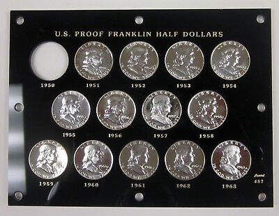 Set of Franklin Proof Half Dollars minus 1950 in Capital Holder 13 coins Silver