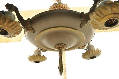 Antique Electric Light Pan Fixture Chandelier Old Brass Electric 4 Drops