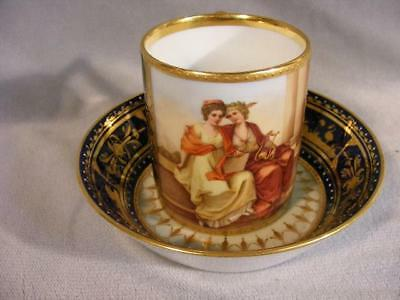 Superb Oversized Vienna Beehive Painted & Cobalt Gilt Cup & Saucer - Muses