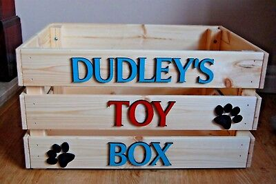 Personalised Wooden Dog Toy Box Pet Crate Dog Cat Toy Crate