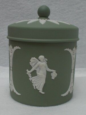 WEDGWOOD china Cream on Celadon/Green JASPERWARE Candy Jar & Lid  4""