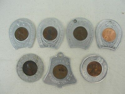 7 Lincoln Wheat & Memorial Cent Encased Tokens Keep Me And Never Go Broke
