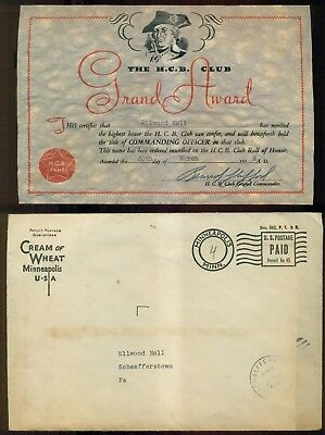 "1936 Cream of Wheat ""The H.C.B. Club"" Grand Award Certificate w/Mailing Envelope"