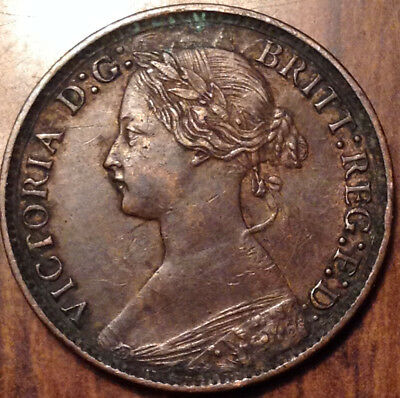 1875 Large Date Uk Gb Great Britain Farthing Super Scarce Coin In Magnificent Hg