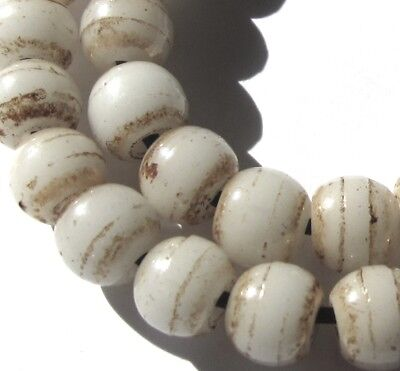 """37 Rare Amazing Old White Czech """"prosser"""" Antique Beads African Trade"""