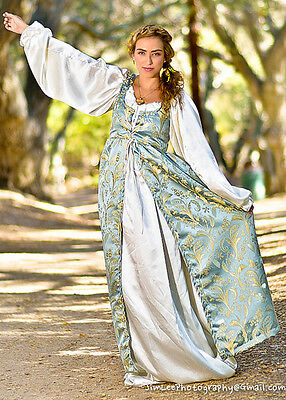 2 PC RENAISSANCE DRESS COSTUME All sizes Baby Blue Empire Dress & Satin Chemise