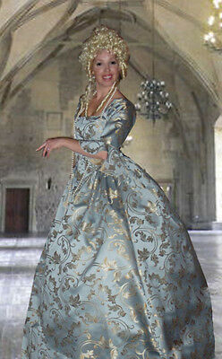 4Piece ANTOINETTE PIRATE SWANN DRESS cuffs hoop COSTUME BABY BLUE All Sizes