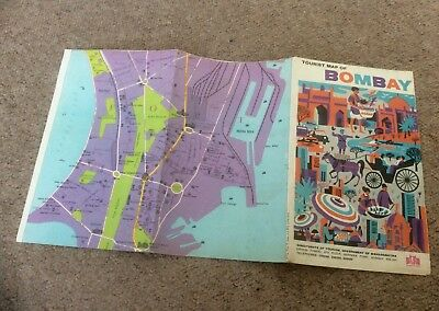 Vintage 1950s 1960s BOMBAY CITY,MUMBAY,INDIA Folding City MAP,Retro,Old,Tourist