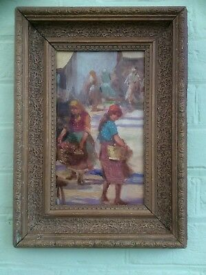 Original 1900s Oil Painting on Board,Country Market Scene,Plaster Gesso Frame