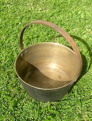 Antique Victorian Large Bronze/brass Gypsy Cauldron With Cast Iron Handle,rivets