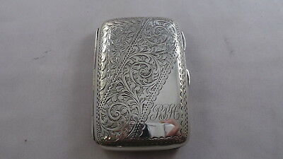 Good  Antique Sterling Silver Cigarette Case Birmingham 1907