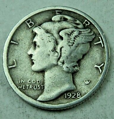 (1) 1928 Mercury Dime // VF-Fine // 1 Coin