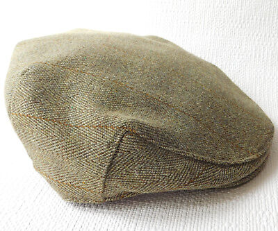 Vintage Luft Quality flat cap mens 56-57 cm Wool mix green tweed Medium 6 7/8 7