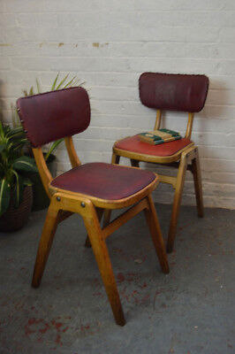 2 x Vintage Mid Century Wooden Stacking Dining Chair Desk Chair
