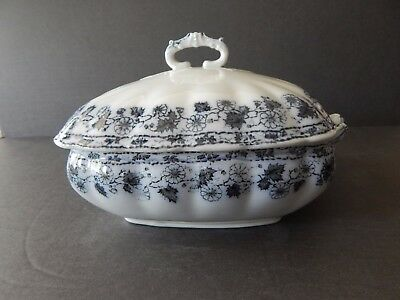 Antique Bridgwood & Son England Porcelaine Opaque Covered Vegetable Tureen Blue