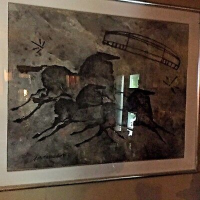 ORIGINAL LARGE CHARCOAL DRAWING*by ANDERSEN * FRAMED MODERN HORSES* HOLLYWOOD