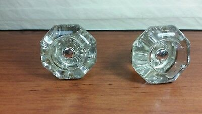 Vintage 8 Point Antique Victorian Clear Glass Door Knob with Raised Center