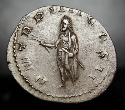 Volusian holding branch and scepter.Very Rare Roman Denarius.Emperor for 2 years