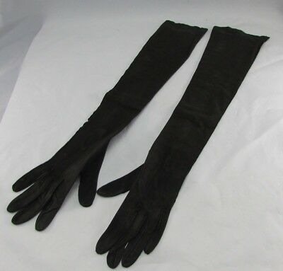 """Vintage French Opera Length Black Kid Skin Suede Gloves Pearl Buttons Sz 6.5 22"""""""