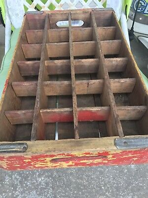 Vintage Red & White COCA-COLA COKE WOODEN CRATE 24 Case 70's