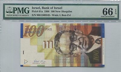 Israel 1998 100 New Sheqalim P61a ** RARE ** PMG 66 EPQ, Gem Uncirculated
