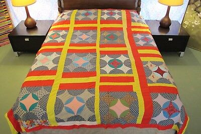 """GRAPHIC Vintage Hand Sewn All Cotton SNOW BALL Variation Quilt TOP; 86"""" x 72"""""""