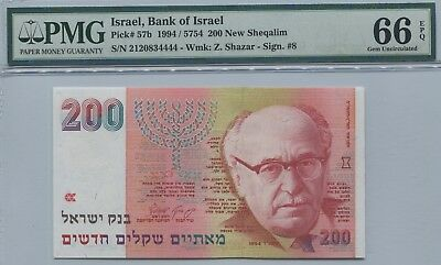 Israel 1994 200 New Shequalim P57b PMG 66 EPQ, Gem Uncirculated