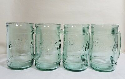 Set of 4 Vintage Green Tinted 16 oz Coca-Cola Coke Glass Stein Mugs with Handles