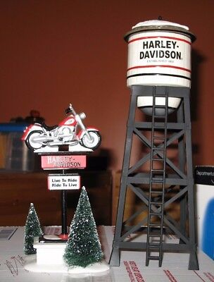 Dept 56 Both Harley-Davidson Water Tower and Harley Davidson Sign