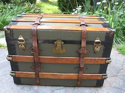 Antique Flat Top Slat Steamer Trunk Stage Coach Chest Coffee Table Original