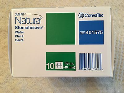 """Convatec SUR-FIT Natura Stomahesive Wafer 1¾"""" 45mm #401575 NEW 10/BX"""