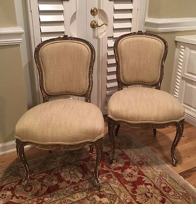 Pair 18th Century FRENCH Louis XV Style Gilt Wood Side Chairs