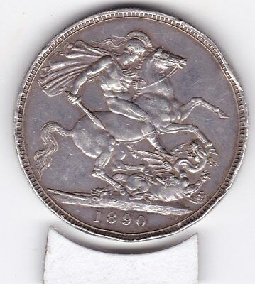 1890  Queen Victoria Large Crown / Five Shilling Coin  from Great Britain