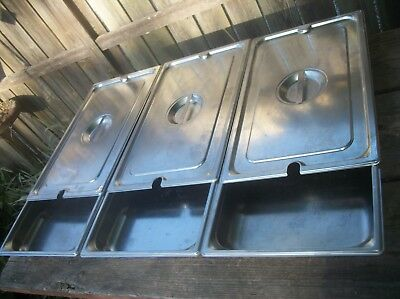 "Syscoware 9 quart Stainless Steel Steam Table Pans  21"" x 13""  3 pans and 3 lids"