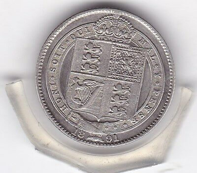 Very  Sharp  1891   Queen  Victoria  Sterling  Silver  Shilling  British Coin