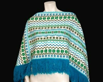 Handwoven Guatemalan Embroidered Poncho One Size White Teal Blue Green Fringe