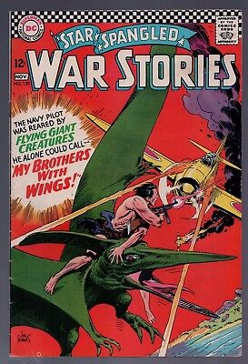 Star Spangled War Stories #129 Fine + Dinosaur Cover Kubert DC Comics 1966 SFX