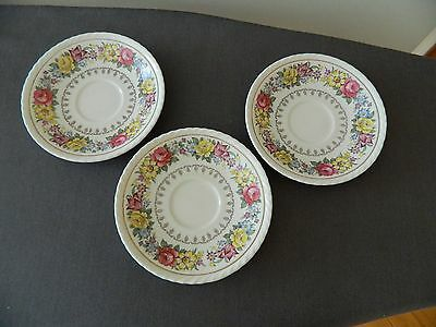 "Vintage Set Of 3 Saucers Crown Ducal  ""Belmont"" England"