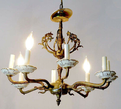 Baroque 8-arm Bronze White Porcelain Chandelier Ceiling Fixture Pendant Lighting