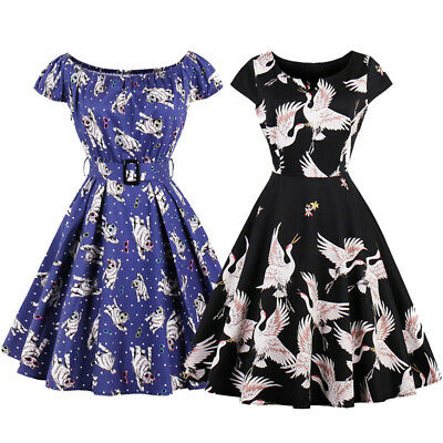 PLUS SIZE Women Printed 1950s Housewife Swing Pinup Vintage Retro Party Dress