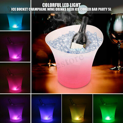 7 Colors LED Light Ice Bucket Champagne Wine Drink Beer Ice Cooler Bar Party 5L