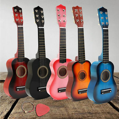 Kids Hand Made Wooden Acoustic Guitar with Metal Strings For Children Xmas