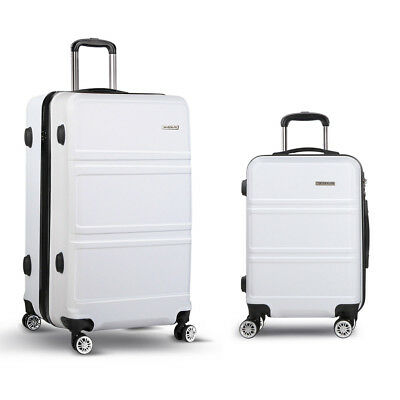 "NEW 2 Piece Lightweight Durable Hard-shell Travel Luggage Set 20"" and 28"" White"