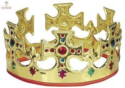 Halloween Adjustable King Crown Costume Accessory Gold Hat