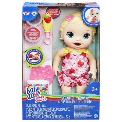 Baby Alive Super Snacks Snackin' Lily (Blonde) - BRAND NEW