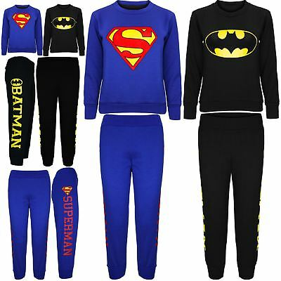 Kids Boys Girls Unisex Fleece Superman Batman Sweatshirt Jog Pant Bottom Trouser