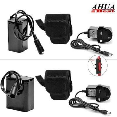 8.4V 18650 Rechargeable Battery Pack Pouch For CREE XML T6 LED Bike Head Light