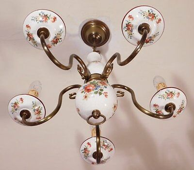 Very Pretty Floral Ceramic and Brass Vintage French 5 Light Chandelier